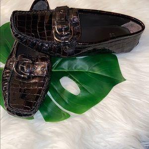 Stuart Weitzman Brown Croc Loafers